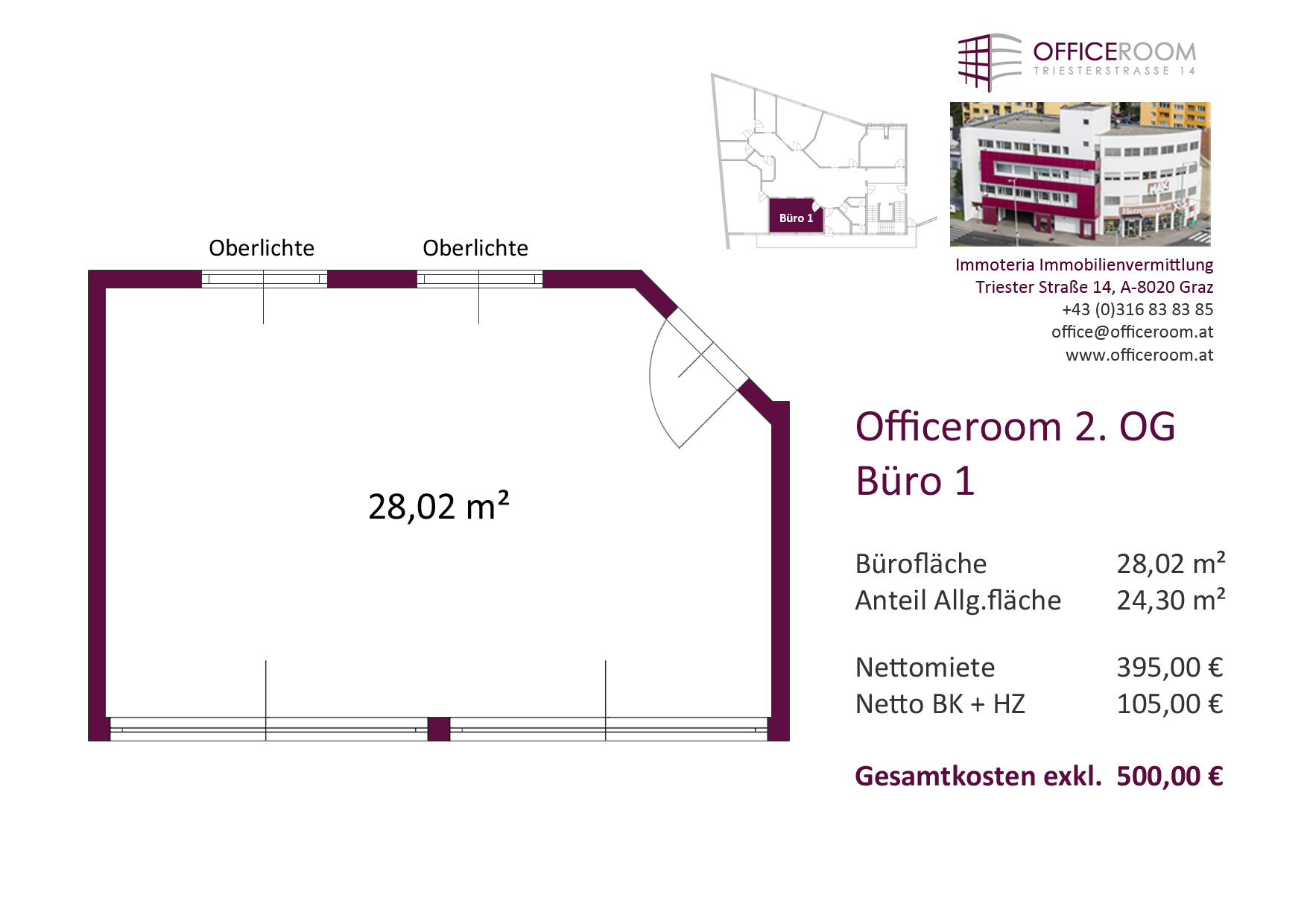 Officeroom Bürocenter, 2. OG, Büro 1, 28,02 m²