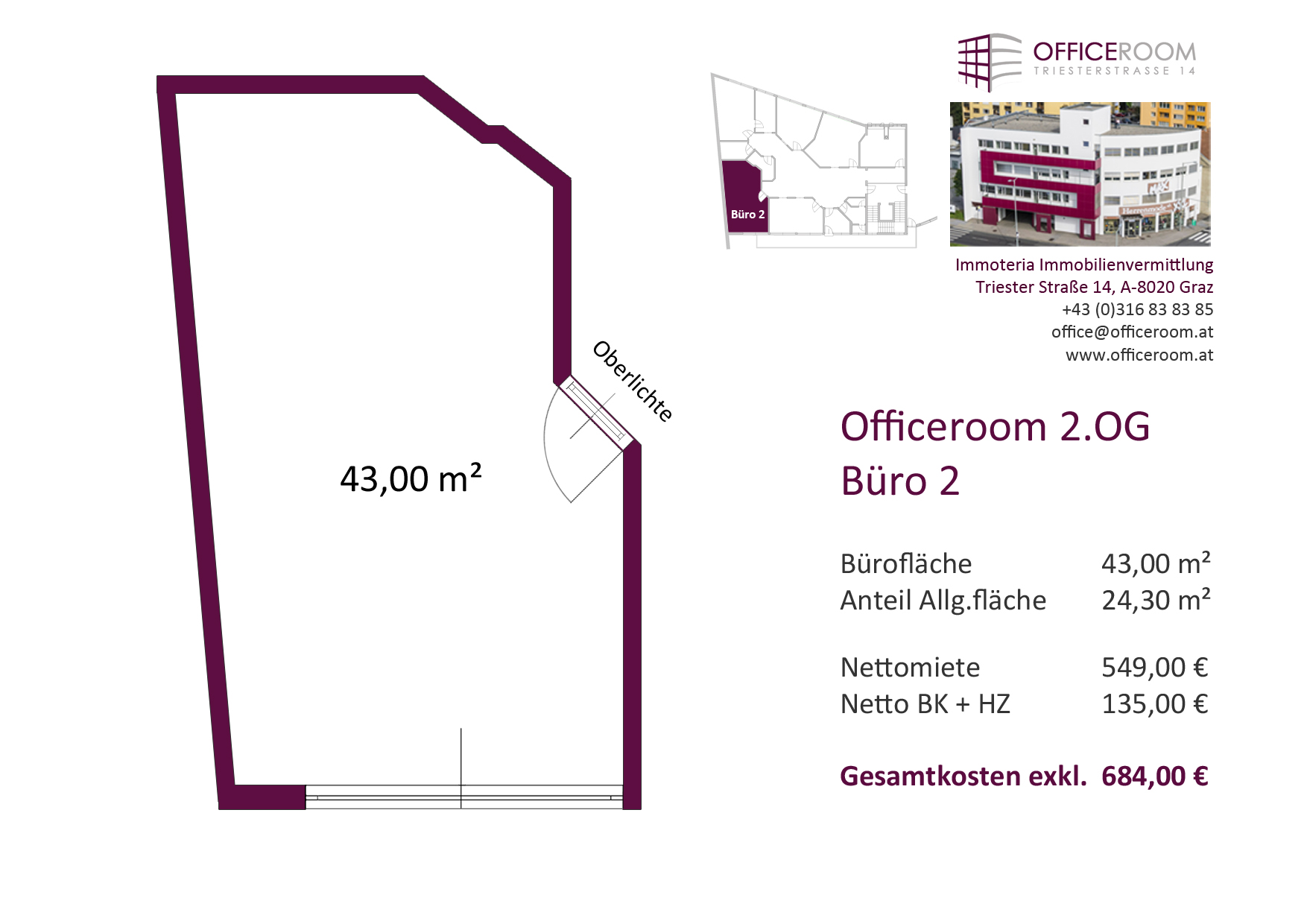 Officeroom Bürocenter, 2. OG, Büro 2, 43,00 m²