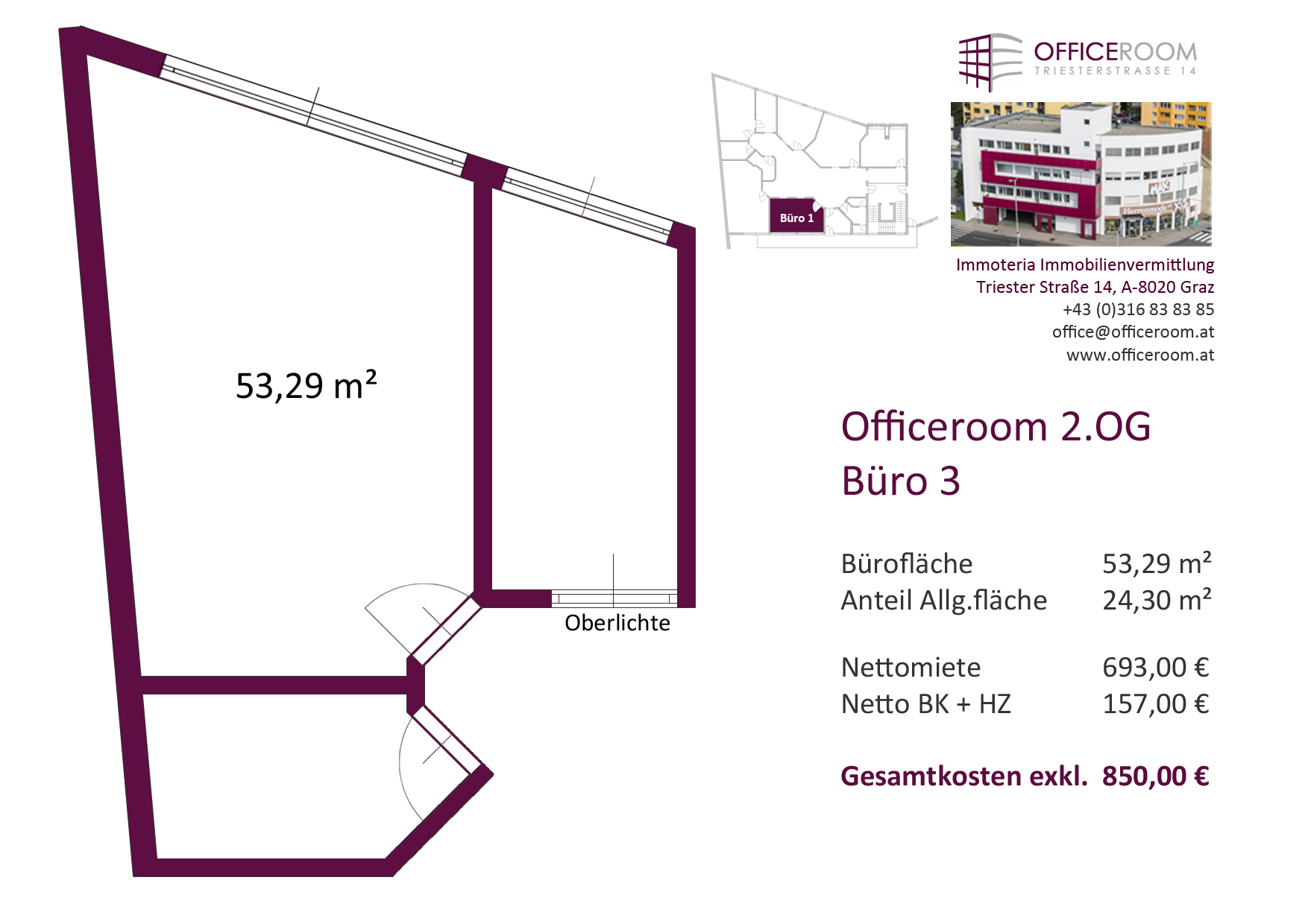 Officeroom Bürocenter, 2. OG, Büro 3, 53,29 m²