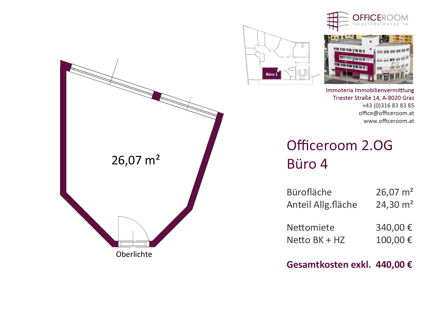 Officeroom Bürocenter, 2. OG, Büro 4, 26,07 m²