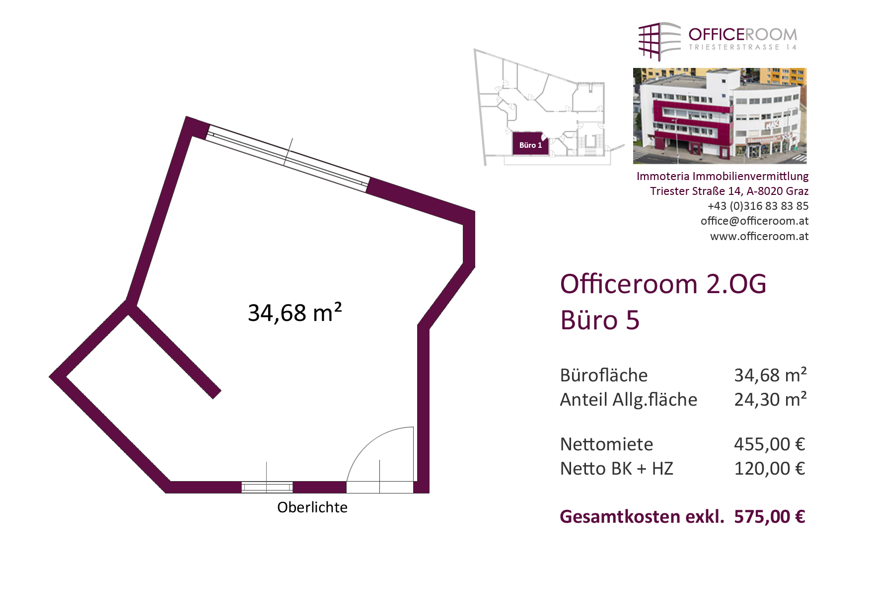 Officeroom Bürocenter, 2. OG, Büro 5, 34,68 m²